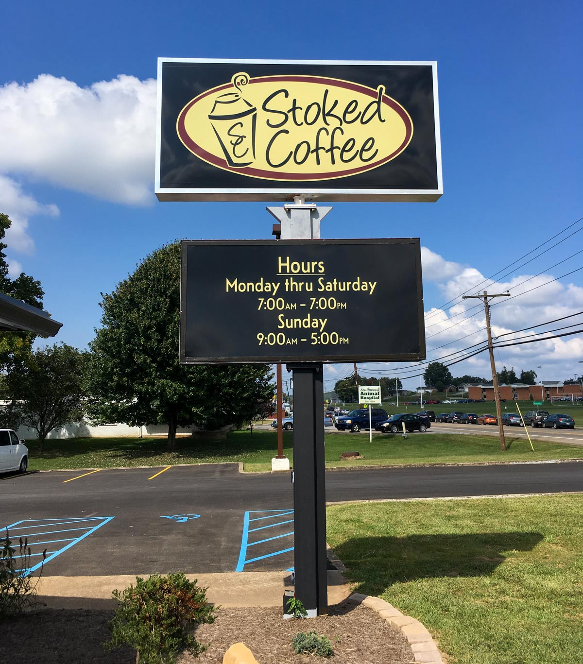 Outdoor lighted sign