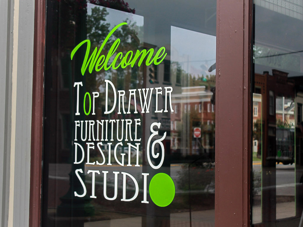 window lettering for furniture store